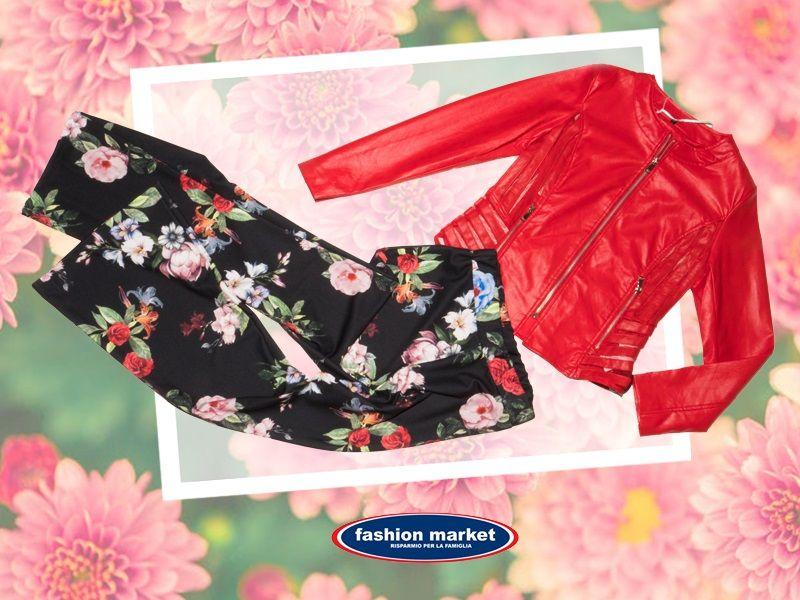offerta Fashion Market linea donna pantalone fiori - occasione collezione abiti donna primavera